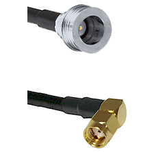 QN Male on RG142 to SMA Reverse Polarity Right Angle Male Cable Assembly