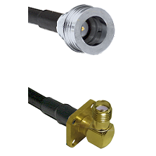 QN Male on RG58C/U to SMA 4 Hole Right Angle Female Cable Assembly