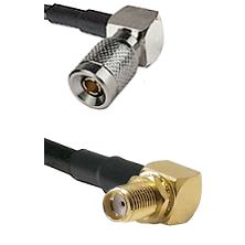 10/23 Right Angle Male on LMR-195-UF UltraFlex to SMA Reverse Thread Right Angle Female Bulkhead C
