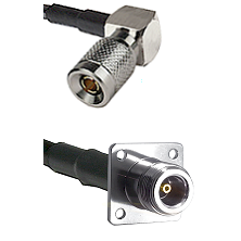 10/23 Right Angle Male on LMR200 UltraFlex to N 4 Hole Female Cable Assembly