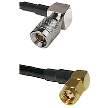 10/23 Right Angle Male on LMR200 UltraFlex to SMA Reverse Polarity Right Angle Male Coaxial Cable