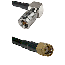 10/23 Right Angle Male on LMR200 UltraFlex to SMA Reverse Polarity Male Cable Assembly