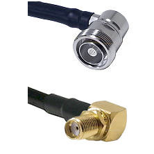 7/16 Din Right Angle Female Connector On LMR-240UF UltraFlex To SMA Right Angle Female Bulkhead Conn