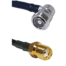 7/16 Din Right Angle Female Connector On LMR-240UF UltraFlex To SMA Reverse Thread Female Connector