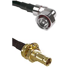 7/16 Din Right Angle Male on LMR-195-UF UltraFlex to 10/23 Female Bulkhead Cable Assembly