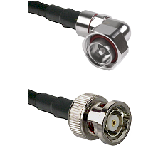 7/16 Din Right Angle Male on LMR200 UltraFlex to BNC Reverse Polarity Male Cable Assembly