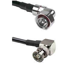 7/16 Din Right Angle Male on LMR200 UltraFlex to BNC Reverse Polarity Right Angle Male Coaxial Cable