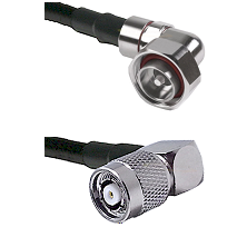 7/16 Din Right Angle Male on LMR200 UltraFlex to TNC Reverse Polarity Right Angle Male Coaxial Cable