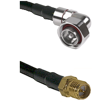 7/16 Din Right Angle Male on LMR200 UltraFlex to SMA Reverse Polarity Female Cable Assembly