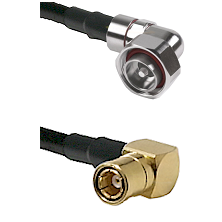 7/16 Din Right Angle Male on LMR200 UltraFlex to SMB Right Angle Female Cable Assembly