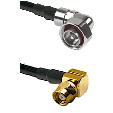 7/16 Din Right Angle Male on LMR200 UltraFlex to SMC Right Angle Female Cable Assembly