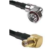 7/16 Din Right Angle Male on LMR200 UltraFlex to SMA Reverse Thread Right Angle Female Bulkhead Coax