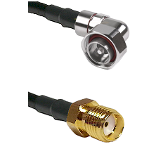 7/16 Din Right Angle Male on LMR200 UltraFlex to SMA Reverse Thread Female Cable Assembly