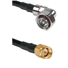 7/16 Din Right Angle Male on LMR200 UltraFlex to SMA Reverse Thread Male Cable Assembly
