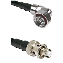 7/16 Din Right Angle Male on LMR200 UltraFlex to SHV Plug Cable Assembly