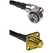 7/16 Din Right Angle Male on LMR200 UltraFlex to SMA 4 Hole Female Cable Assembly