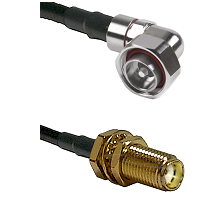 7/16 Din Right Angle Male on LMR200 UltraFlex to SMA Female Bulkhead Cable Assembly