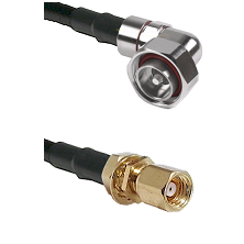 7/16 Din Right Angle Male on LMR200 UltraFlex to SMC Female Bulkhead Cable Assembly