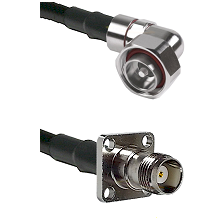 7/16 Din Right Angle Male on LMR200 UltraFlex to TNC 4 Hole Female Cable Assembly
