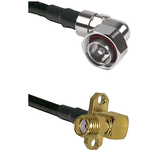 7/16 Din Right Angle Male on LMR240 Ultra Flex to SMA 2 Hole Right Angle Female Coaxial Cable Assemb
