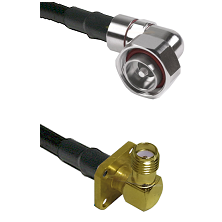 7/16 Din Right Angle Male on LMR240 Ultra Flex to SMA 4 Hole Right Angle Female Coaxial Cable Assemb