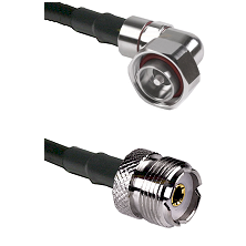 7/16 Din Right Angle Male on LMR240 Ultra Flex to UHF Female Cable Assembly