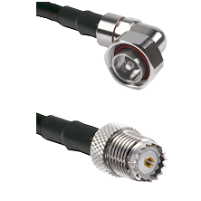 7/16 Din Right Angle Male on RG142 to Mini-UHF Female Cable Assembly