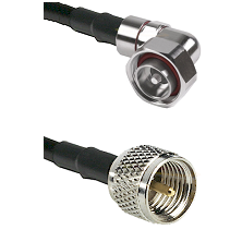 7/16 Din Right Angle Male on RG142 to Mini-UHF Male Cable Assembly