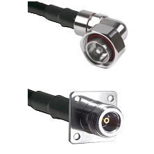 7/16 Din Right Angle Male on RG142 to N 4 Hole Female Cable Assembly