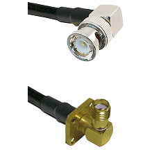 BNC Right Angle Male on Belden 83242 RG142 to SMA 4 Hole Right Angle Female Cable Assembly