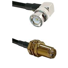 BNC Right Angle Male on LMR-195-UF UltraFlex to SMA Reverse Polarity Female Bulkhead Coaxial Cable A