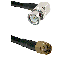BNC Right Angle Male on LMR-195-UF UltraFlex to SMA Reverse Polarity Male Cable Assembly