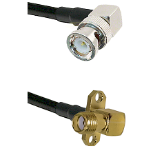BNC Right Angle Male on LMR240 Ultra Flex to SMA 2 Hole Right Angle Female Cable Assembly