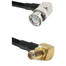 BNC Right Angle Male Connector On LMR-240UF UltraFlex To SMA Reverse Thread Right Angle Female Bulkh