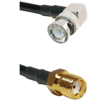 BNC Right Angle Male Connector On LMR-240UF UltraFlex To SMA Reverse Thread Female Connector Coaxial