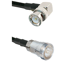 BNC Right Angle Male on RG142 to 7/16 Din Female Cable Assembly