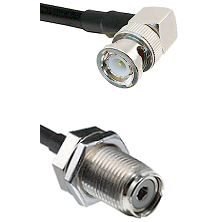 Right Angle BNC Male on RG142 to UHF Female Bulk Head Connectors Cable Assembly