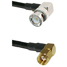 BNC Right Angle Male on RG58 to SMA Reverse Polarity Right Angle Male Cable Assembly