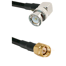 BNC Right Angle Male on RG58C/U to SMA Reverse Thread Male Cable Assembly
