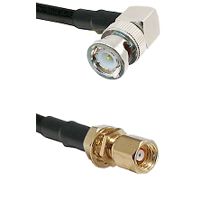 BNC Right Angle Male on RG58C/U to SMC Female Bulkhead Cable Assembly