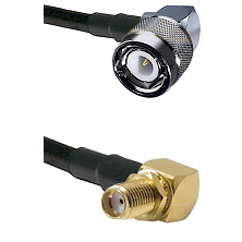C Right Angle Male Connector On LMR-240UF UltraFlex To SMA Reverse Thread Right Angle Female Bulkhea