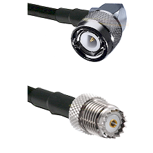 C Right Angle Male on RG142 to Mini-UHF Female Cable Assembly
