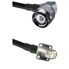 C Right Angle Male on RG58C/U to BNC 4 Hole Female Cable Assembly