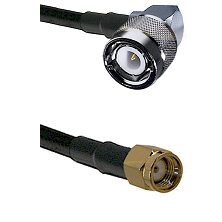 C Right Angle Male on RG58C/U to SMA Reverse Polarity Male Cable Assembly