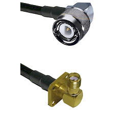 C Right Angle Male on RG58C/U to SMA 4 Hole Right Angle Female Cable Assembly