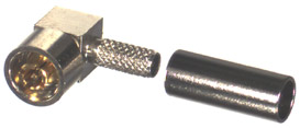 RDM-6310-B RF Industries DMC Right Angle Plug, SOLDER/CRIMP, W/ PRESS CAP, Nickel,Gold,T; FOR RG-174