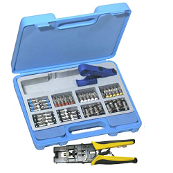 RFA-4004-01 RF Industries COMPRESSION CRIMP KIT, 130 PCS INC: CRIMP HANDLE, STRIDielectric POLYPROPY