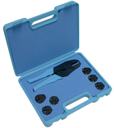 RFA-4005-505 RF Industries MODULAR & TERMINAL CRIMP TOOL KIT; CRIMP HANDLE, 7 DIES, BLUE PLASTIC CAS