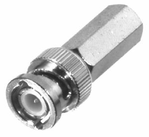 RFB-1104 RF Industries BNC MALE TWIST-ON Plug, Nickel,S,D; FOR RG58/U, CBL GRP C