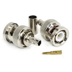 RFB-1106-2TC1 RF Industries BNC MALE CRIMP Plug, Nickel,Gold,T; FOR RG-142/U & RG-55/U, CBL GRP C1
